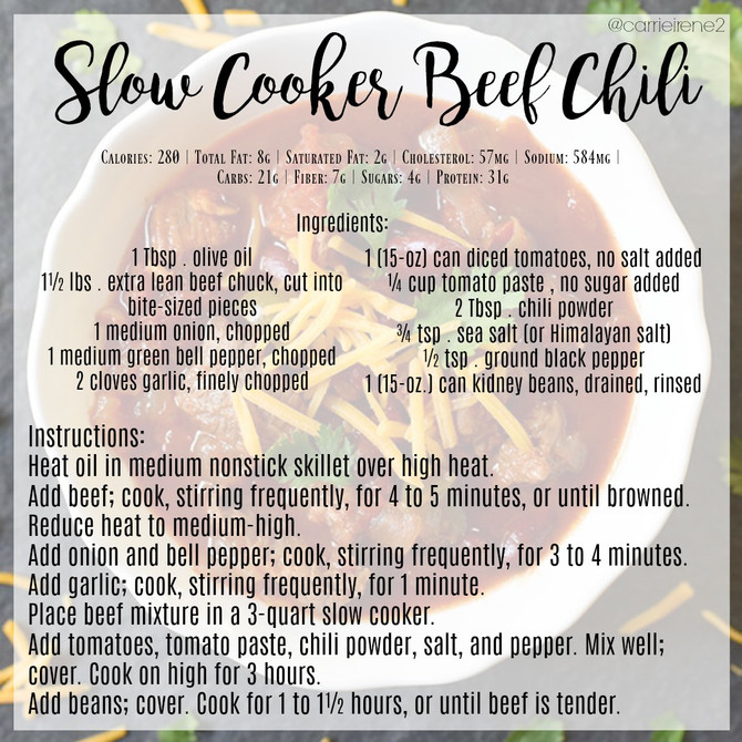 Clean, Slow Cooker Beef Chili