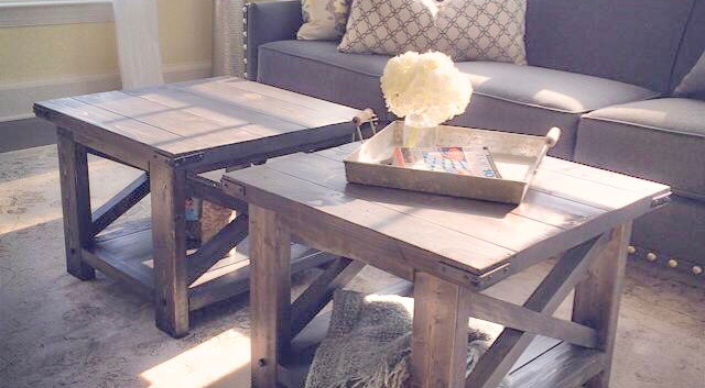 Rustic X Coffee Tables - Custom Size