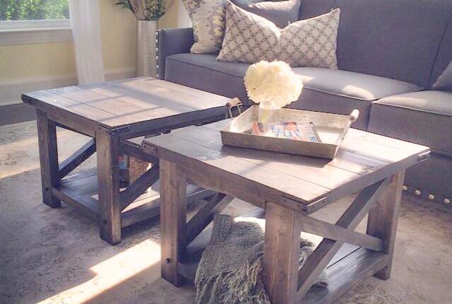 Rustic X Coffee Tables - Custom Size