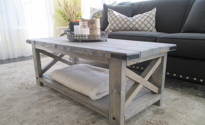 Rustic X Coffee Table in Weathered Gray