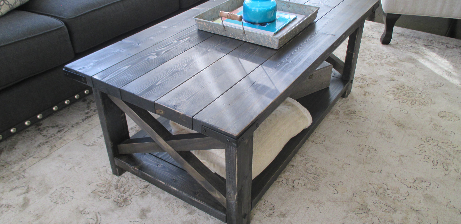 Rustic X Coffee Table in Weathered Midnight