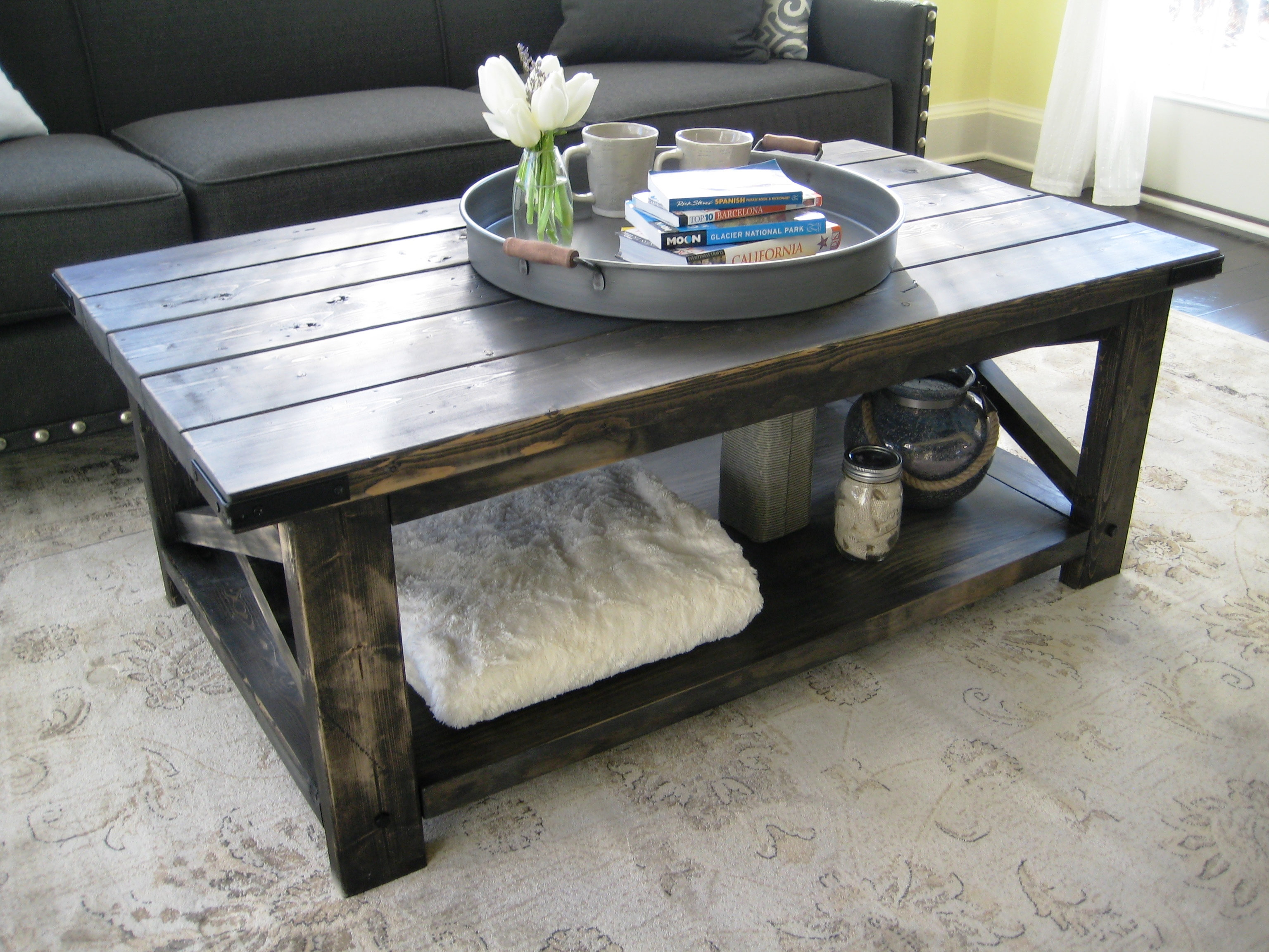 Rustic x coffee table tall pine woodworks - How tall should a coffee table be ...
