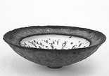 Thrown single rim       bowl, speckled matt white well, lave lace out