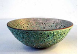 Extreme volcanic glaze open bowl Pink inside Turquoise out