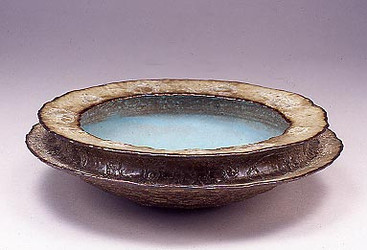 Double Rim Bowl Turquoise well Lava Lace outside
