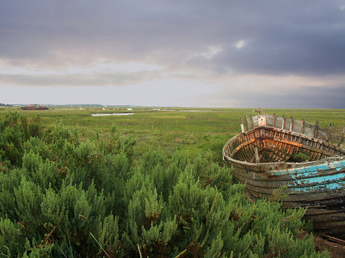 Abandoned boat on Blakeney marshes, North Norfolk  DOWNLOAD