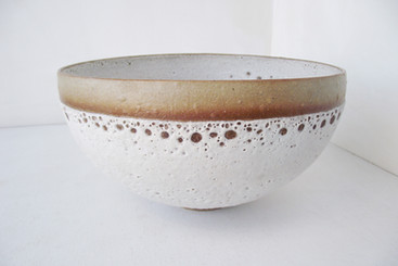 White Bell Bowl Lacy top edge with clear band