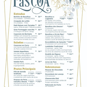 Cardápio de Páscoa do Rosita Cafe