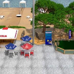 Praia da Barra ganha o primeiro quiosque do Brasil com estrutura para pets