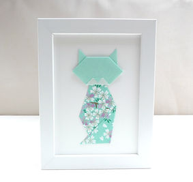 Les cubes de Lili, cadeau chat, cadre origami, papier japonais, cadeau de naissance, décoration chambre enfants, idée cadeau Noël, fête des mères, décoration fleurie, décoraton mint, décoration menthe, chat fleuri