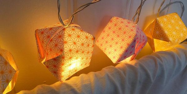 Guirlande lumineuse, Les cubes de Lili, papier japonais, origami, luminaire, motif asanoha, motifs japonais, guirlande led, guirlande led à piles