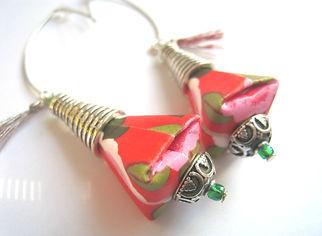 idée cadeau anniversaire, fête des mères, cadeau de Noël, bijoux bohème, origami, Les cubes de Lili, bijoux vintage, papier japonais, bijoux ethniques, perles vertes, bijoux argentés, pompons