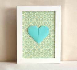 décoration cœur origami turquoise
