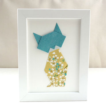 Les cubes de Lili, cadeau chat, cadre origami, papier japonais, cadeau de naissance, décoration chambre enfant, idée cadeau Noël, fête des mères, décoration bleu canard, décoration fleurie, décoraton bleu carnard et moutarde, chat fleuri