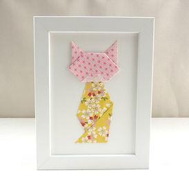 Les cubes de Lili, cadeau chat, cadre origami, papier japonais, cadeau de naissance, décoration chambre enfant, idée cadeau Noël, fête des mères, décoration jaune, décoration fleurie, décoration jaune et rose, chat fleuri
