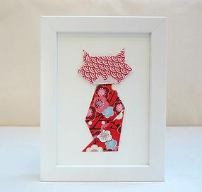 Les cubes de Lili, cadeau chat, cadre origami, papier japonais, cadeau de naissance, décoration chambre enfant, idée cadeau Noël, fête des mères, décoration rouge, décoration rouge et bleue, décoration fleurie, chat fleuri