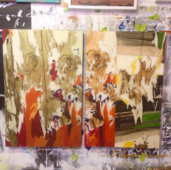 Untitled (Resin Shred Diptych)