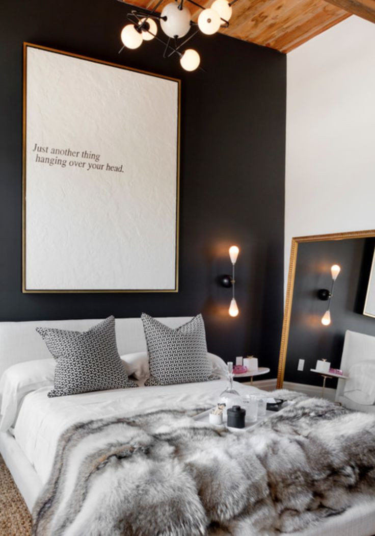 Paint It Black ~ Black might sound scary, but it looks totally sexy in a bedroom or powder room or let's face used as an accent colour on a wall in any room. To keep it from feeling too dark, include lighter coloured textures in the room and make sure you have sufficient light.