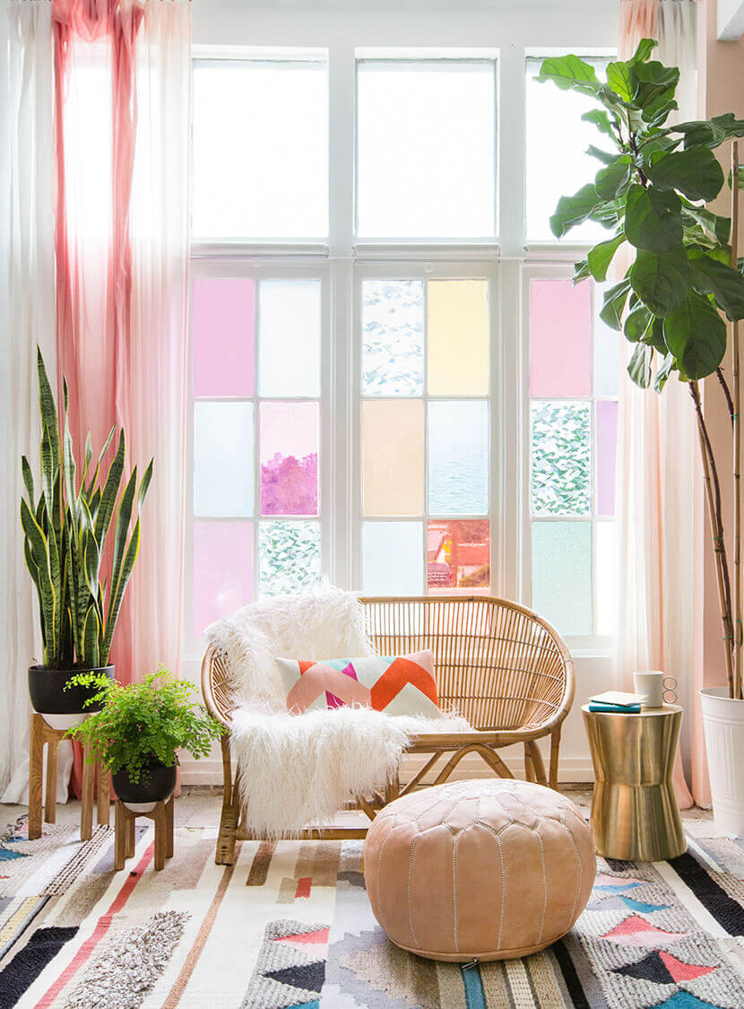 Colour Me Beautiful ~ Create a cheery injection of colour by adding tinted window film in an array of colours and textures. It's perfect for dreary days and will allow natural light to filter through in the loveliest way.