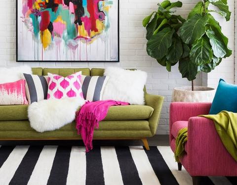 Add A Bright Accent Color ~ A colourful pillow or a patterned blanket will help make an otherwise neutral room a little less monochromatic.