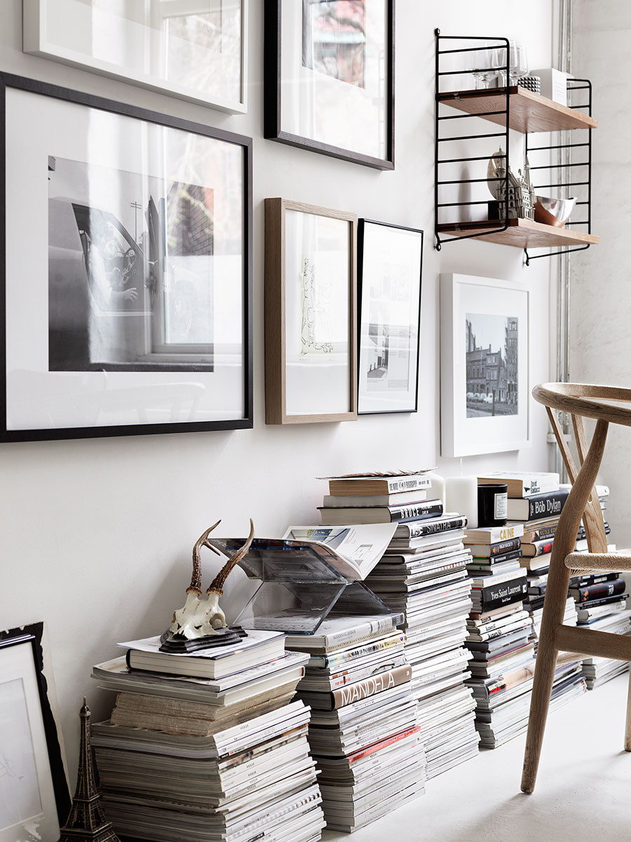 Stack Your Magazines ~ Is your magazine collection a force to be reckoned with? Use them to your advantage by stacking them high and uniform along a wall or use to as legs for a coffee table.