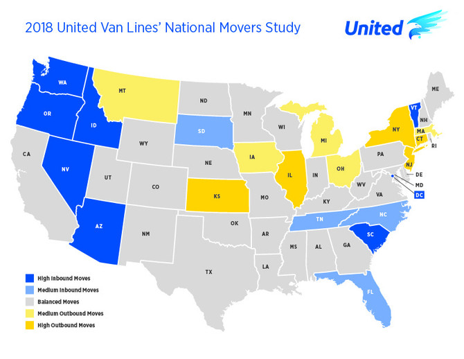 United Van Lines' Study Details US Migration in 2018