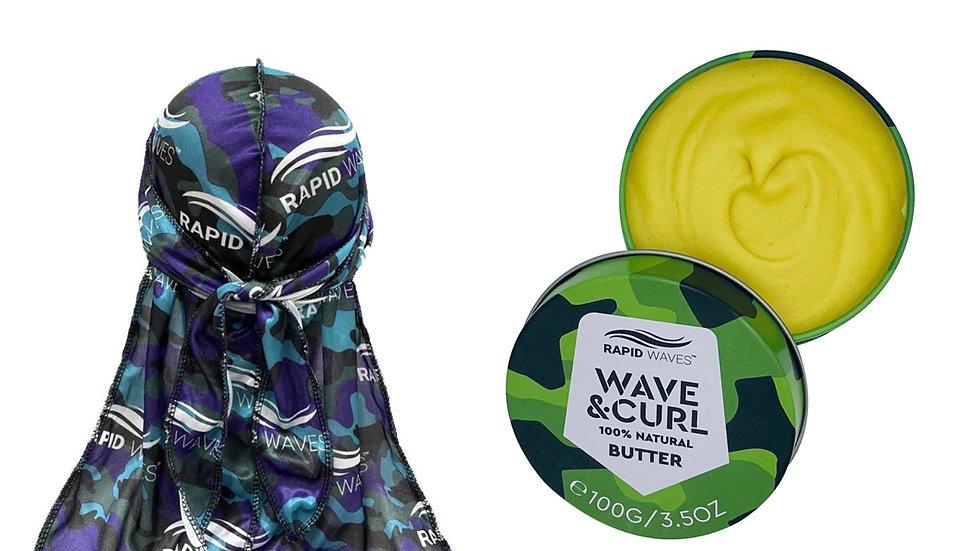Rapid Waves Premium Camouflage Designer Durag + Wave & Curl Butter