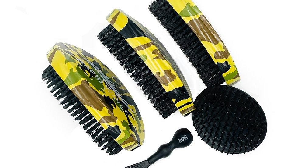 ALL 3 - Rapid Waves SOFT, MEDIUM & HARD Camouflage Curve Palm Brushes