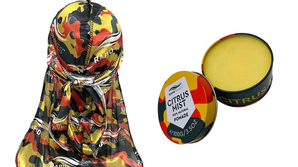Rapid Waves Premium Yellow Camouflage Designer Durag + Wave Pomade