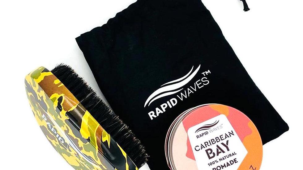 Rapid Waves 360, 540, 720 Wavers MEDIUM/HARD Palm Brush & Pomade