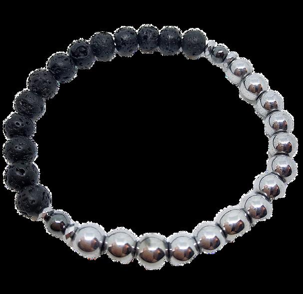 Hematite and Lava Bracelet