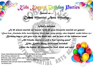 Kids Karate Parties at Cobra Martial Arts