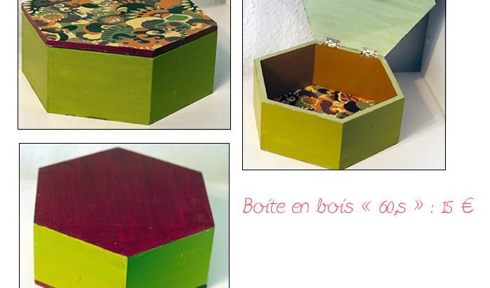 """Création en vente : Boîte en bois """"60'S"""""""