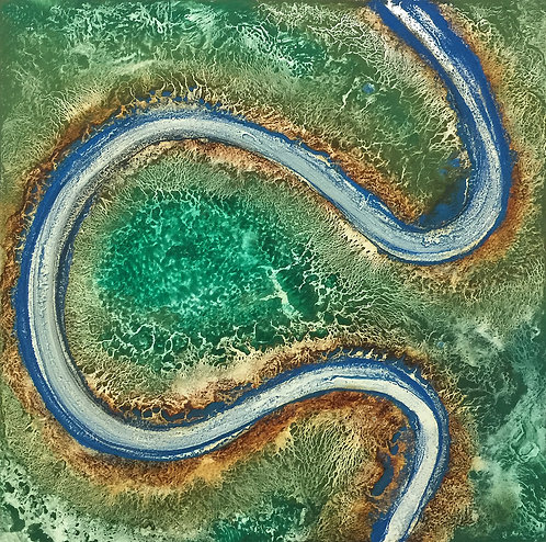 Aerial Oxbow   (12 x 12 inches)