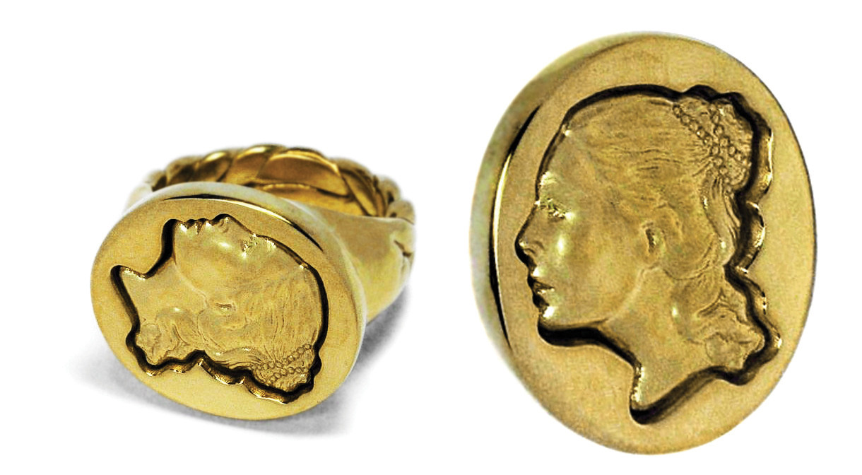 Gold Intaglio Portrait Ring