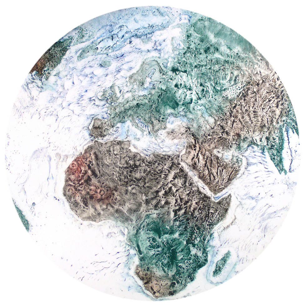 Earth: Snowball 1, Pigment on Panel, 22 inches