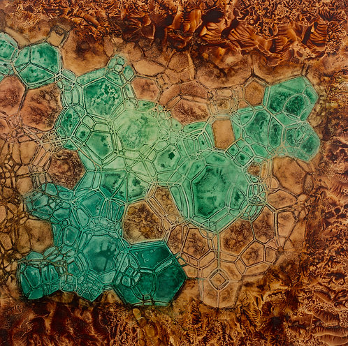 Crystalline Verde Ochre   (24 x 24 inches)