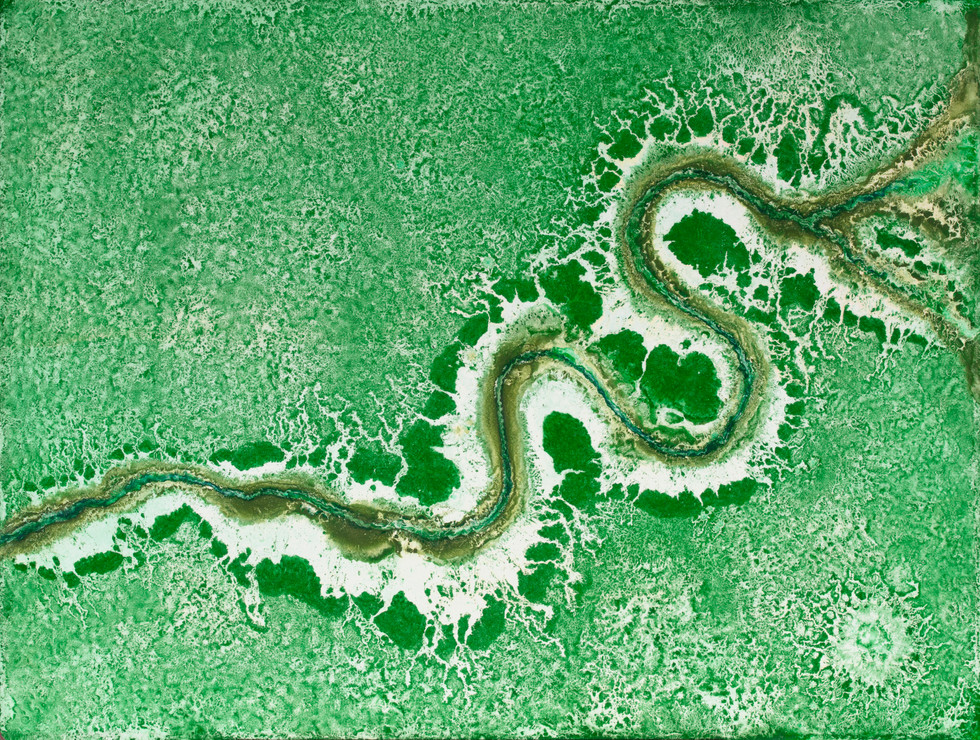 Serpentine #3, Pigment on Panel, 24 x 36 inches