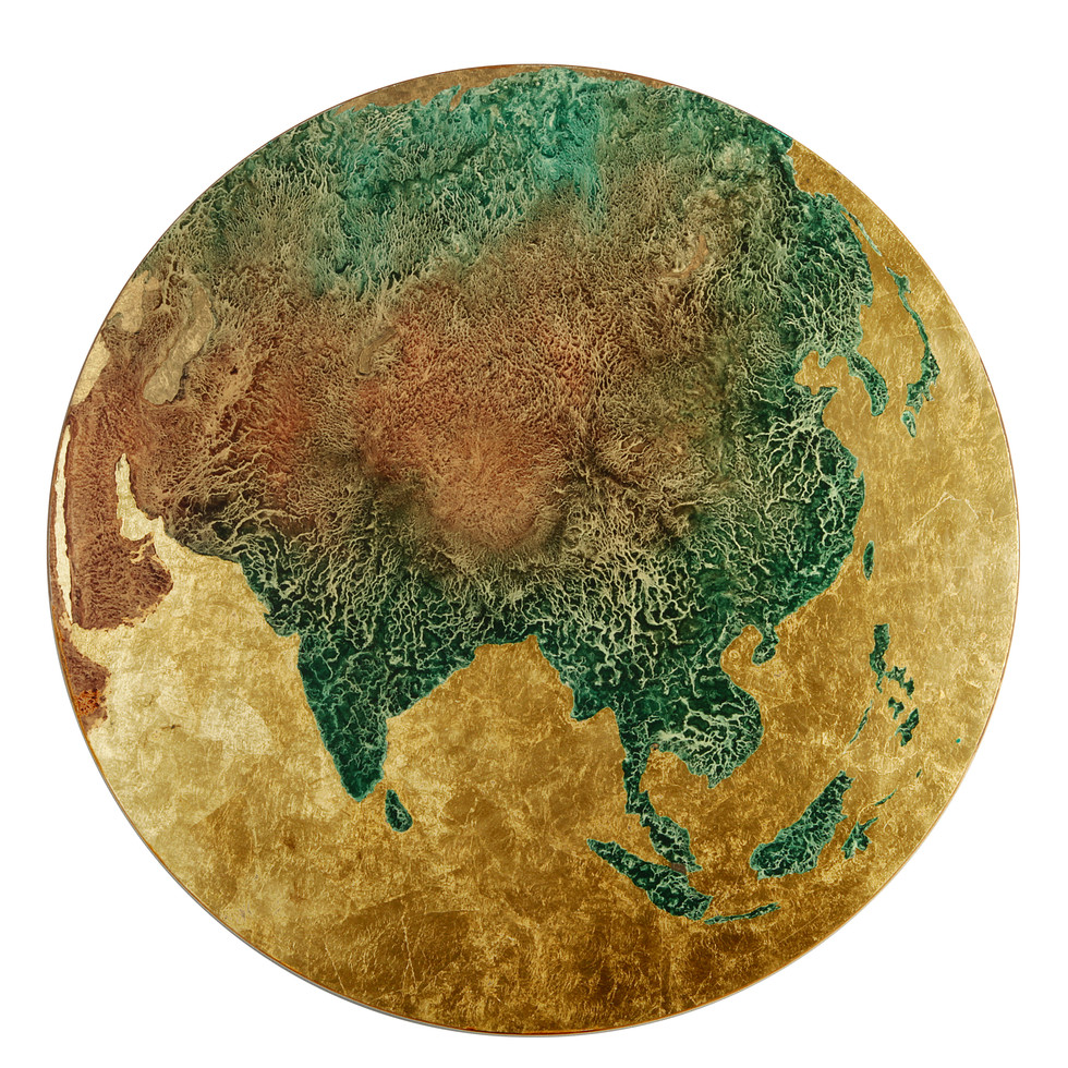 Earth: Tibet, Pigment & Gold Leaf on Panel, 22 inches