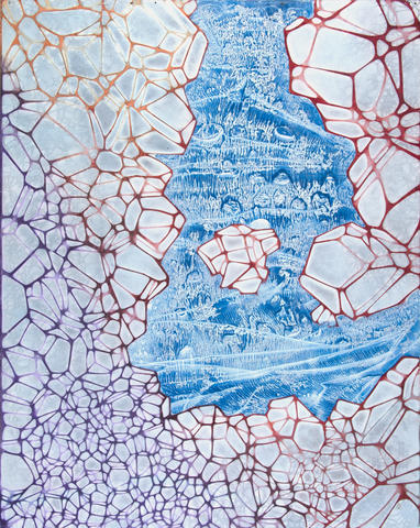 Crystalline Crevasse, Pigment on Panel, 48 x 72 inches