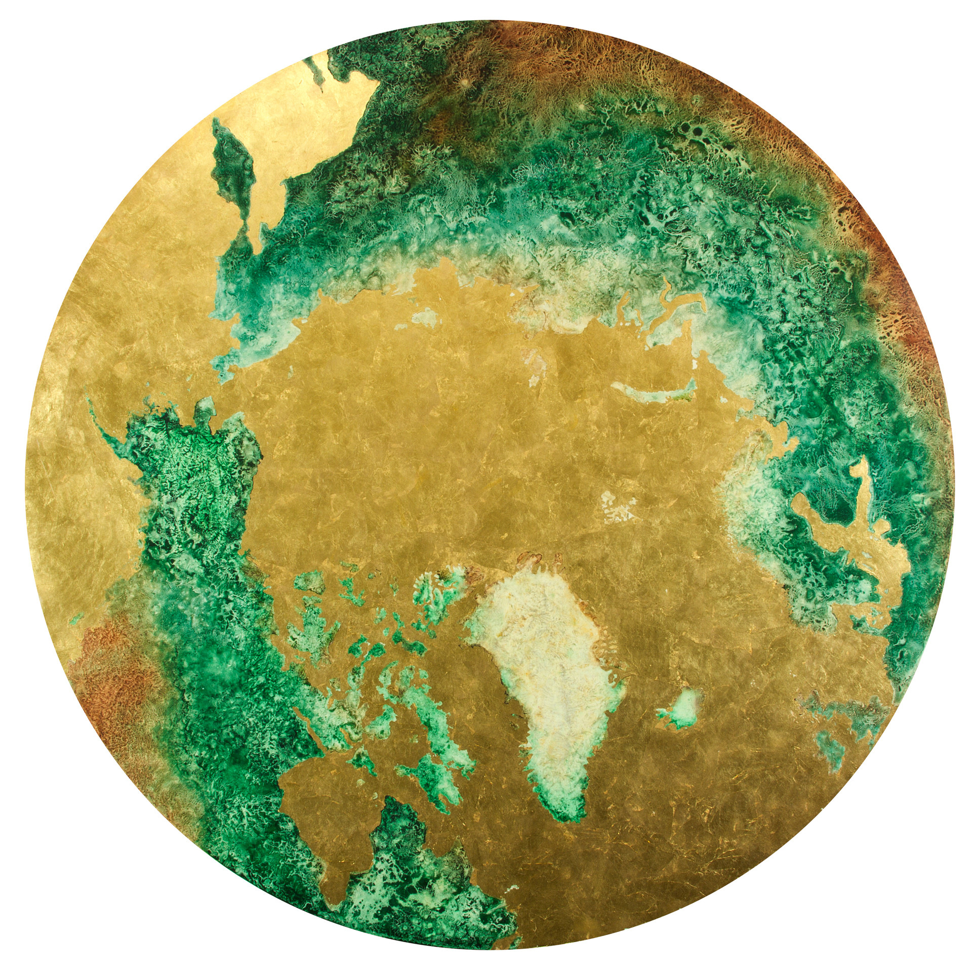 Earth: Arctic, Pigment & Gold Leaf on Panel, 36 inches