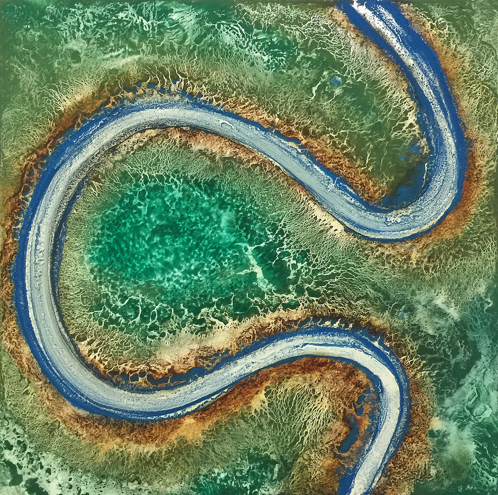 Serpentine #2, Pigment on Panel, 24 x 24 inches
