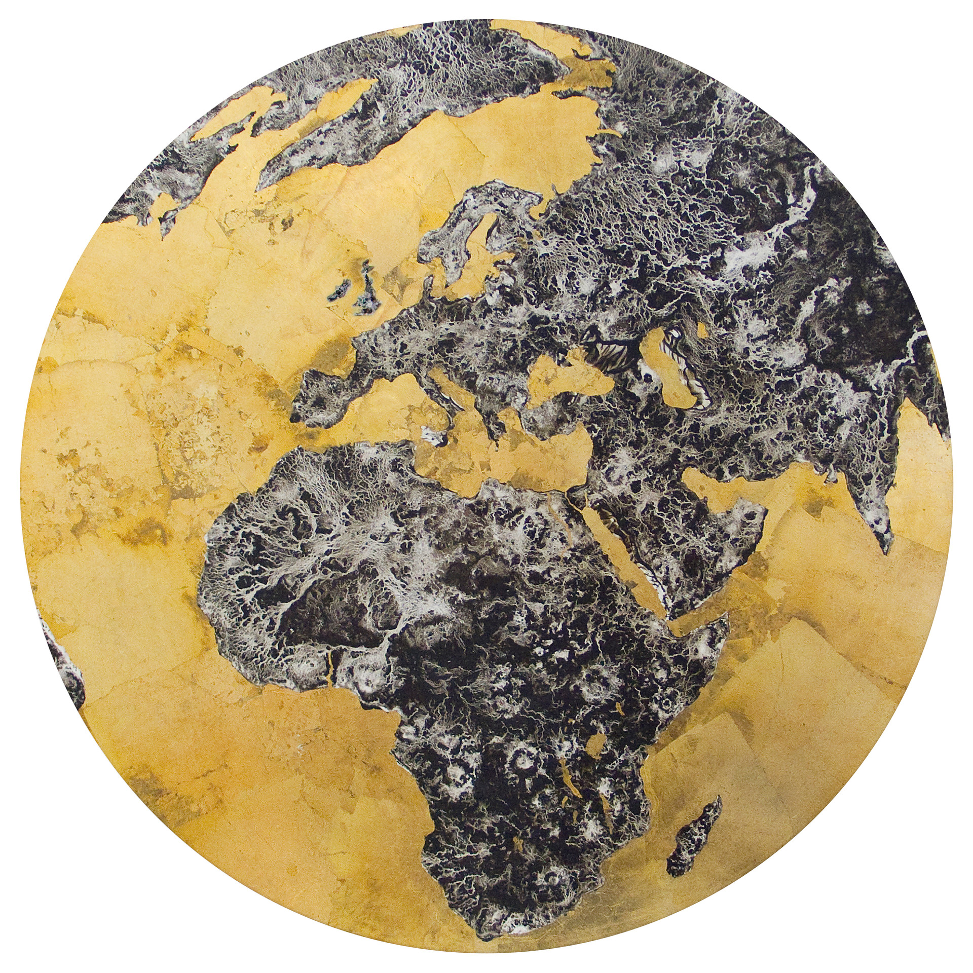 Earth: Gilded Age, Pigment & Gold Leaf on Panel, 22 inches