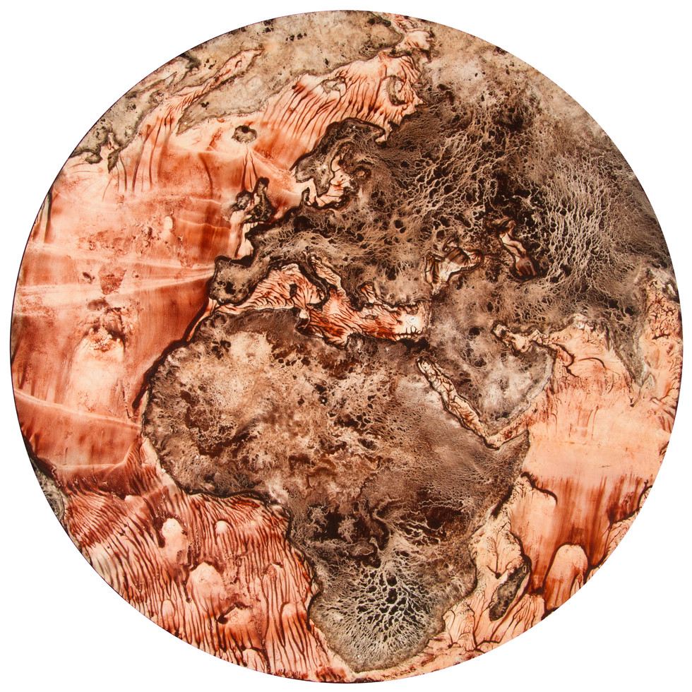 Earth: Exfoliated, Pigment on Panel, 22 inches