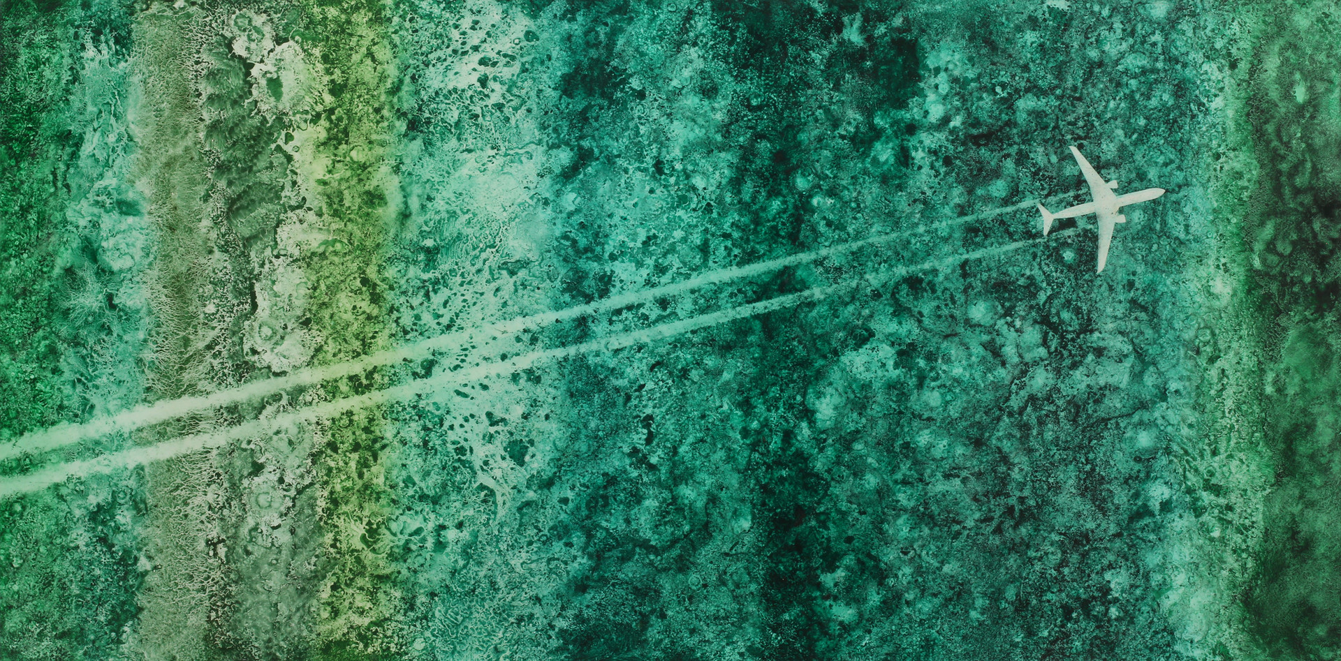 Contrails #8, Pigment on Panel, 24 X 48 inches