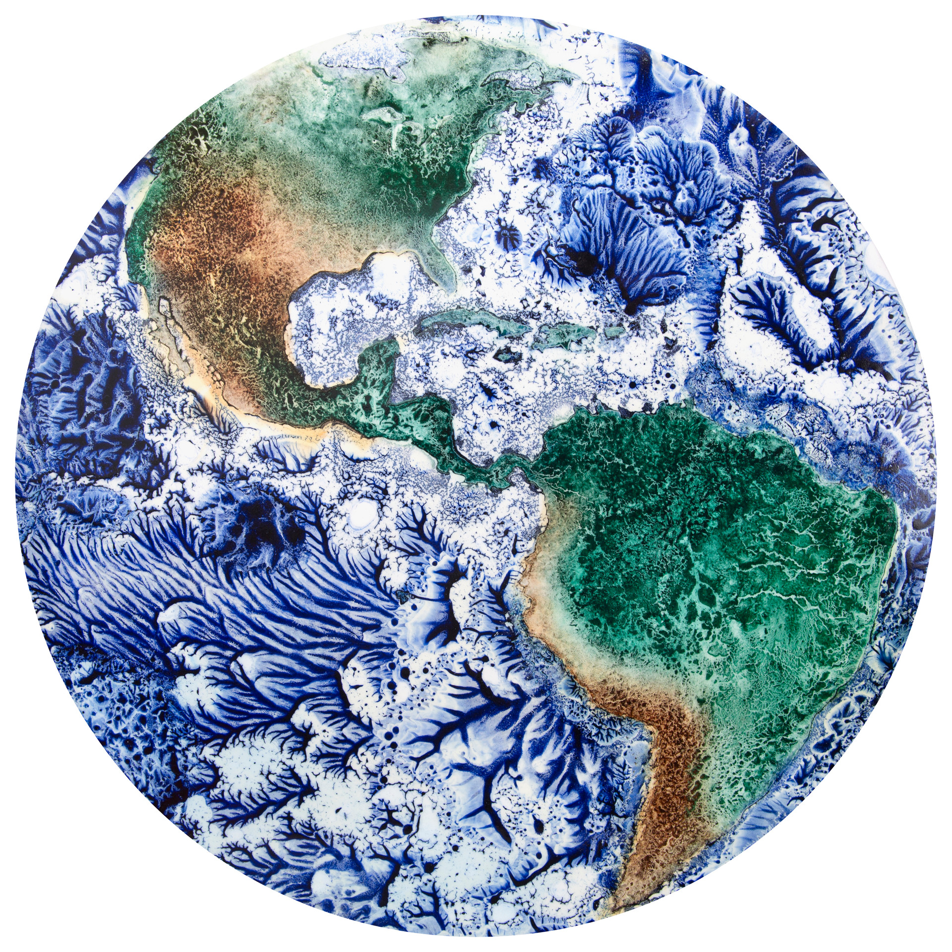 Earth: Americas, Pigment on Panel, 22 inches
