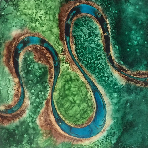 Serpentine #1, Pigment on Panel, 24 x 24 inches