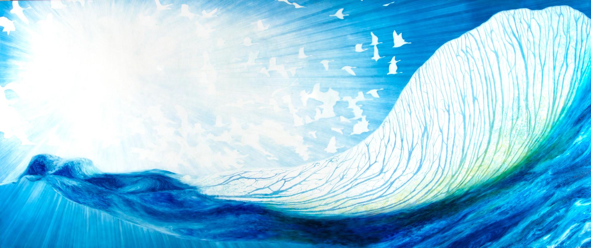 Tsunami, Oil on Panel, 36 x 96 Inches
