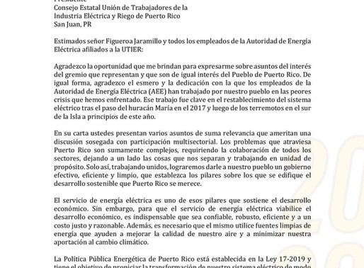 Pedro Pierluisi contesta carta a la UTIER