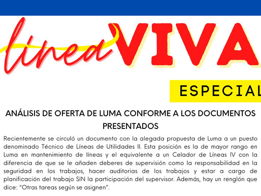 LINEA VIVA: ANÁLISIS DE OFERTA DE LUMA CONFORME A LOS DOCUMENTOS PRESENTADOS